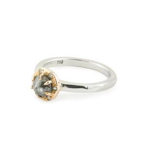 Grey Diamond Halo Ring