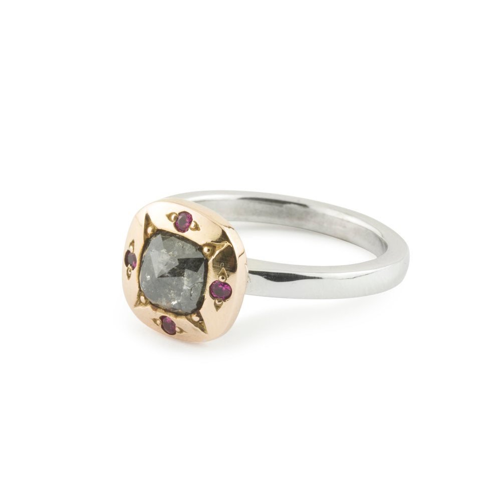 Cushion Cut Grey Diamond Ring