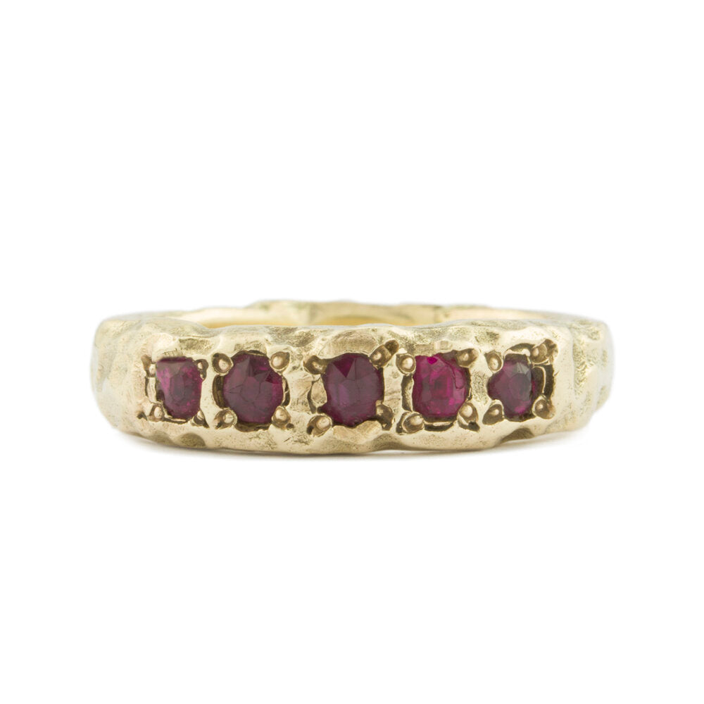 Decayed Gold Ring with Rubies