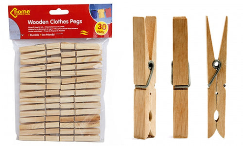 Wooden Clothes Pegs (Pack of 30)