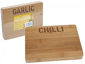 Sided Bamboo Chopping Board Chilli or Garlic Green Network Store UK