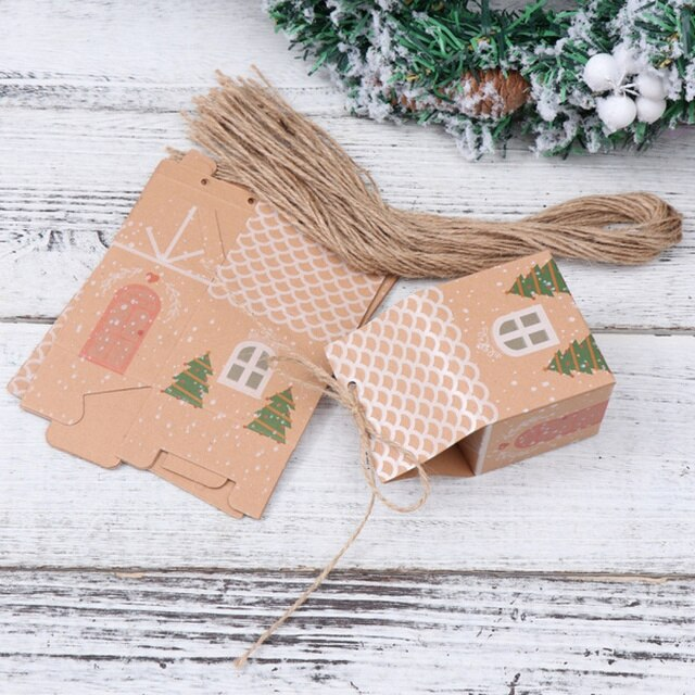 Pack of 10 Kraft Christmas gift Boxes with strings and stickers
