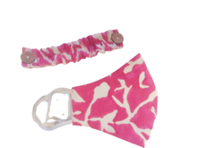 Load image into Gallery viewer, Contoured Face Mask with Ear Saver & Filter Pocket – Pink & White