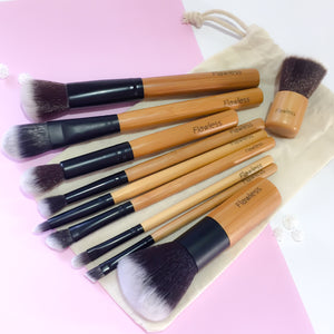11 Piece Bamboo Makeup Brush Set
