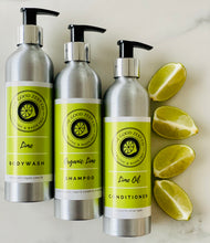 Load image into Gallery viewer, Organic Lime Trio Set (Shampoo, Conditioner & Body Wash)
