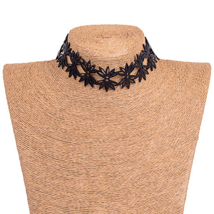Lotus Recycled Rubber Statement Flower Choker