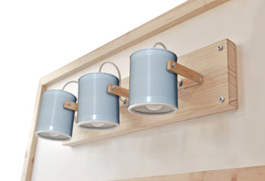 Wall Spotlight (3 cans made of natural pinewood)