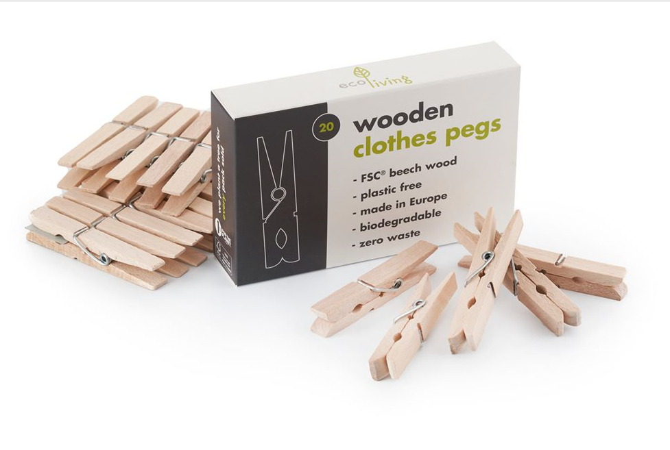Eco Living - Beech Wood clothes pegs - Green Network Store UK