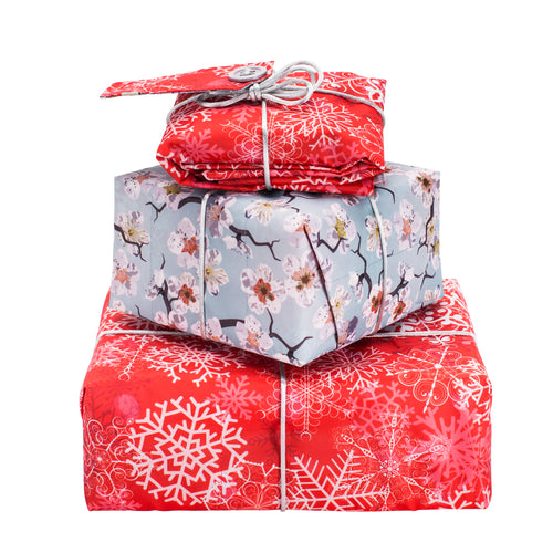 Reversible & Reusable Gift Wraps - Christmas Frost & Sakura Season