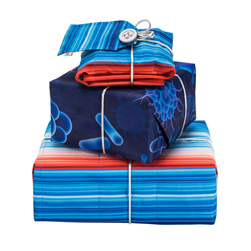 Reversible & Reusable Gift Wraps - Warming Stripes & Bug Me