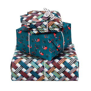 Reversible & Reusable Gift Wraps - Woven Ribbons & Red Breasts