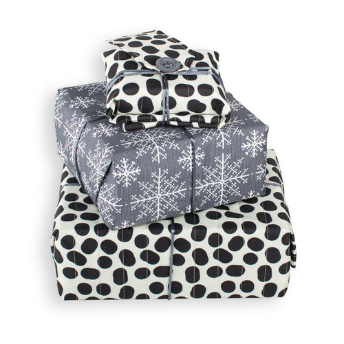 Reversible & Reusable Gift Wraps - Mono Flakes & Cow Spots