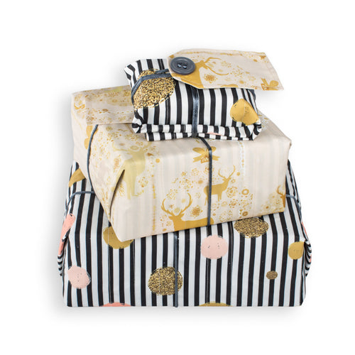 Reversible & Reusable Gift Wraps - Golden Stags & Stripes
