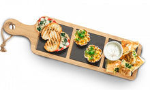 "Load image into Gallery viewer, PMS 18x5"" Wooden Serving Tray with Handle & 3 Slate Sections"