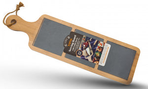 "PMS 18x5"" Wooden Serving Tray with Handle & 3 Slate Sections"