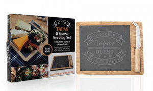 PMS 10x8inch Wooden Cheese Board with Slate and Knife