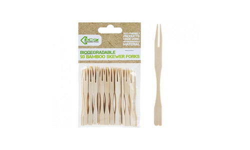 PMS Eco Connection Bamboo Skewer Forks - 50 Pieces