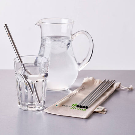5 Stainless Steel Straight Drinking Straws with Plastic-Free Cleaning Brush & Organic Carry Pouch