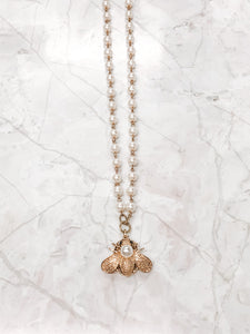 Royal Pearl Bee Necklace