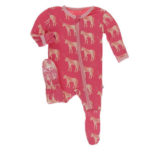 Print Muffin Ruffle Footie with Zipper in Red Ginger Unicorns
