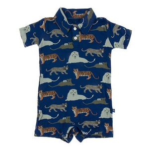 Print Short Sleeve Polo Romper in Flag Blue Big Cats