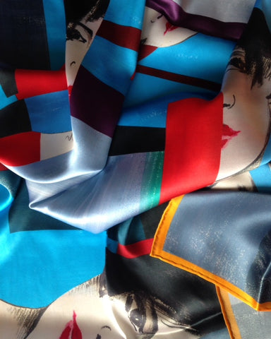 """Colorful World"" Gold Silk Charmeuse Scarf"