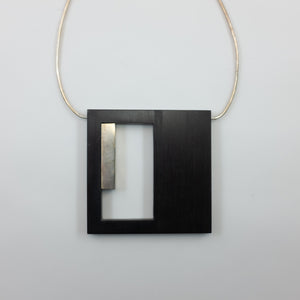 Milan Heger- Wood and White Rhodium Plated Square Pendant