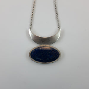 Milan Heger- Lapiz Lazuli and White Rhodium Plated Moon Pendant