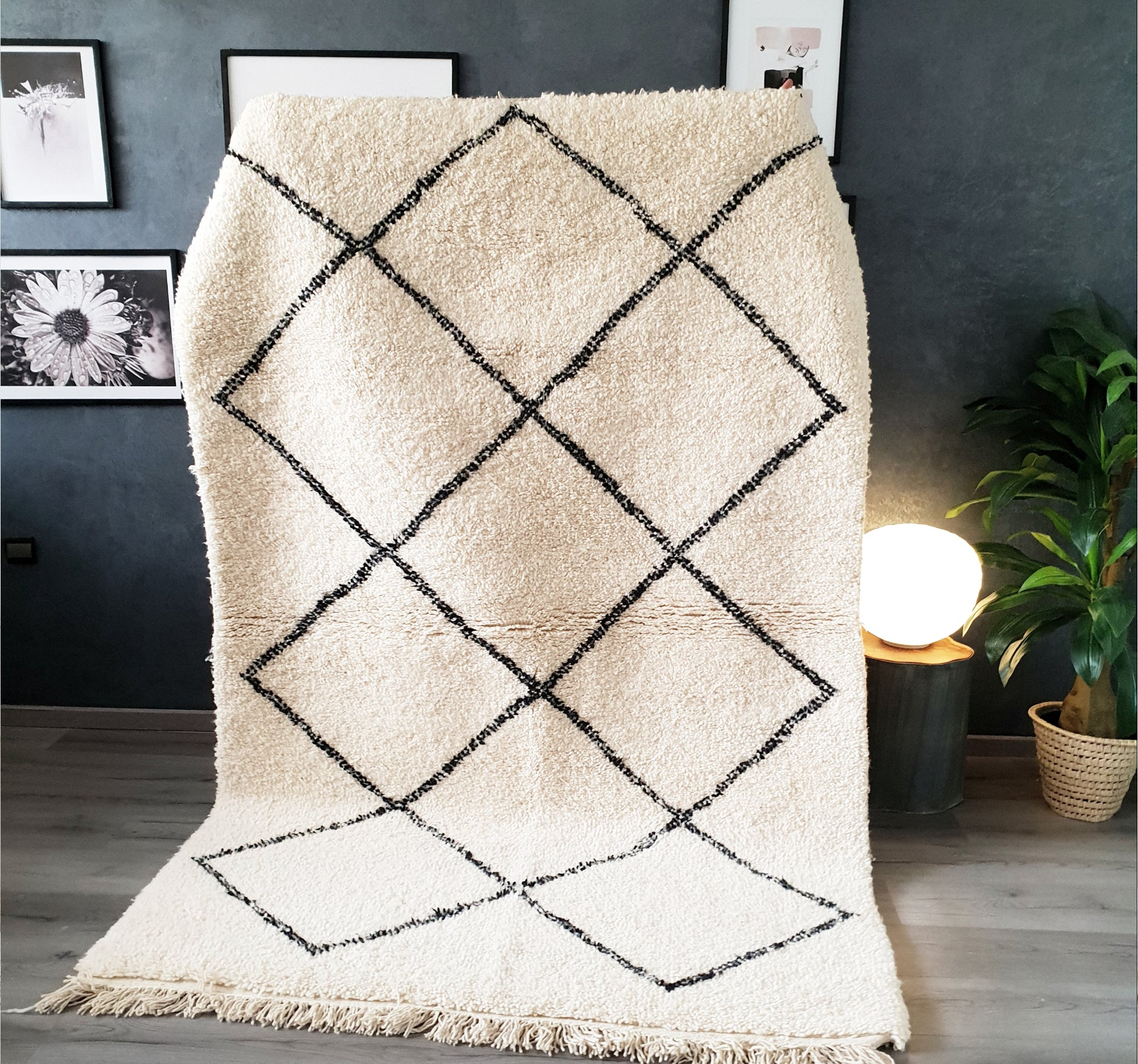 Hand knotted beni Ourain rug SOMAYA
