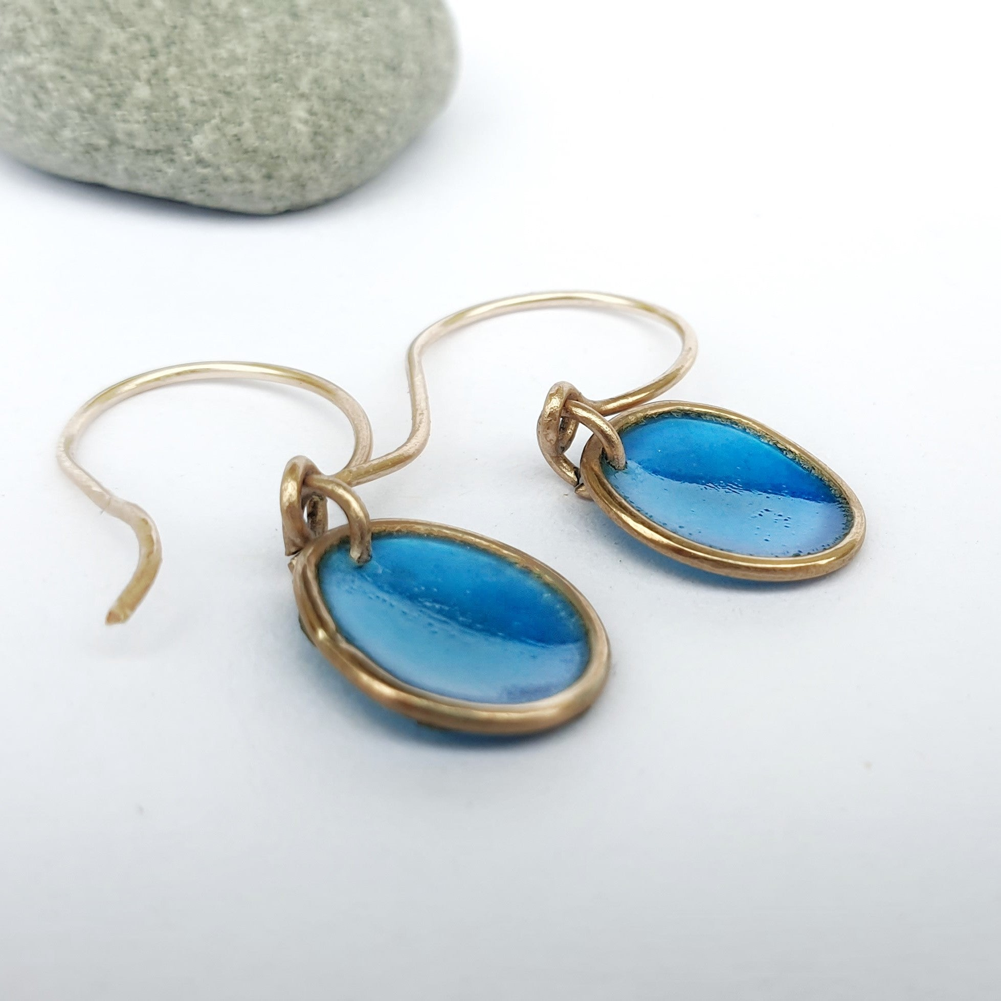 Gold Resin Pebble Earrings Single