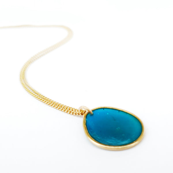 Gold Resin Pebble Necklace Single