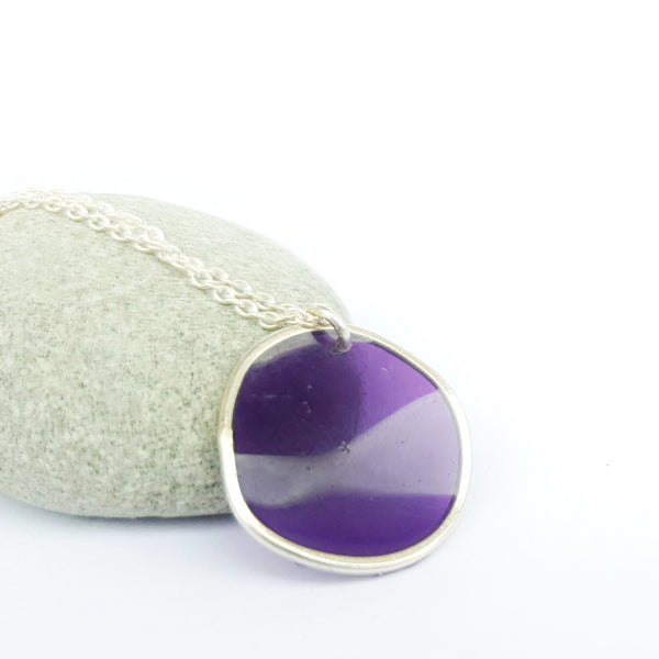 Silver Resin Pebble Necklace Single