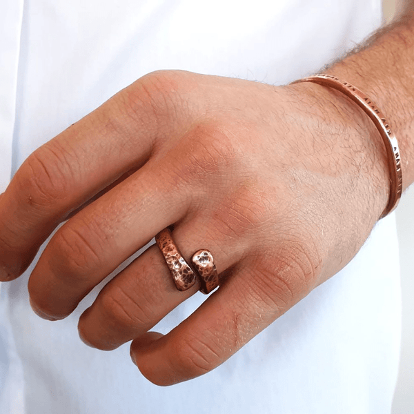 Red Thread Copper Offset Ring