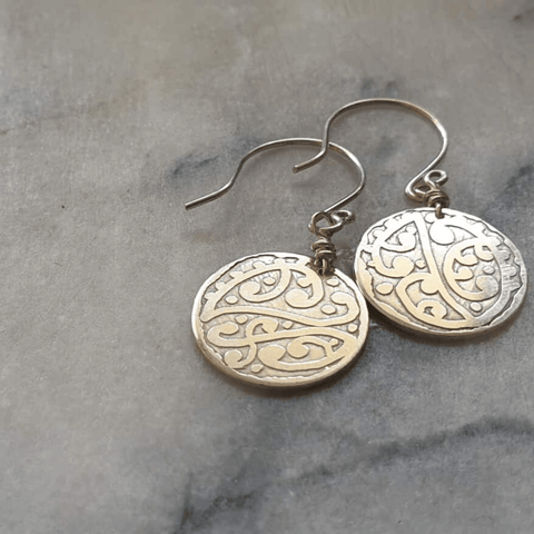 Etched Round Earrings