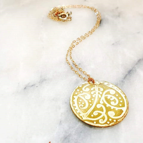 Etched Round Necklace