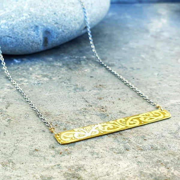 Etched Rectangle Necklace