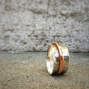 Red Thread Meditation Ring Gold