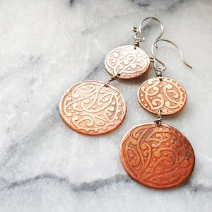 Etched Double Circle Earrings