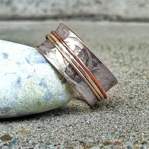 Etched Meditation Ring Trio Bands