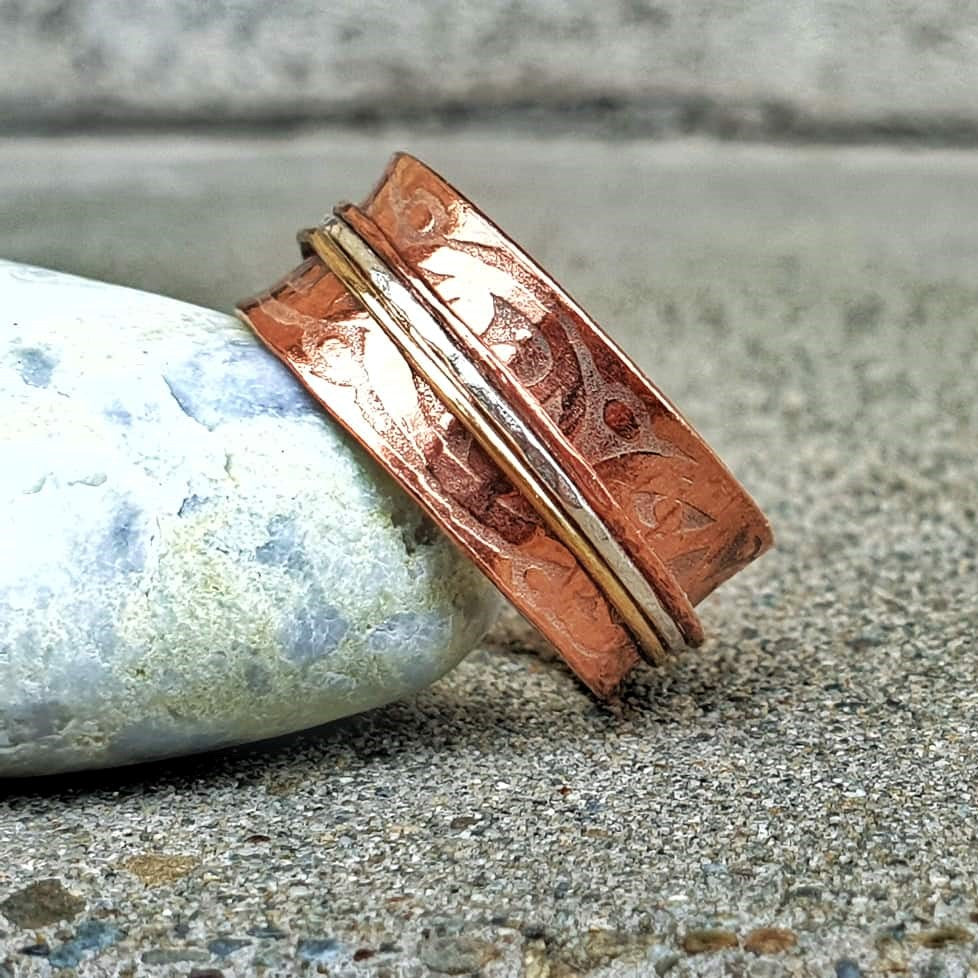 Copper Etched Meditation Ring Trio Bands