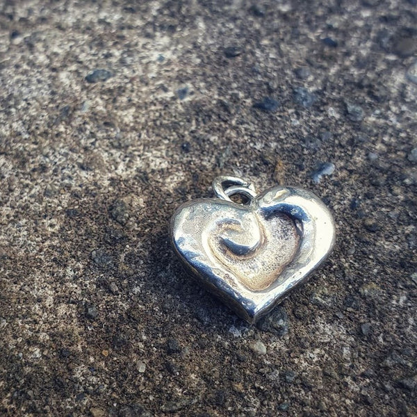 Carved Koru Heart Charm Silver