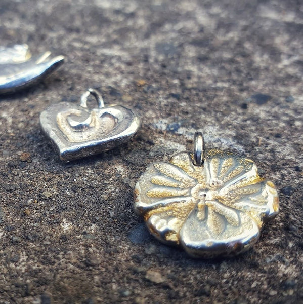 Carved Poppy Flower Charm Silver
