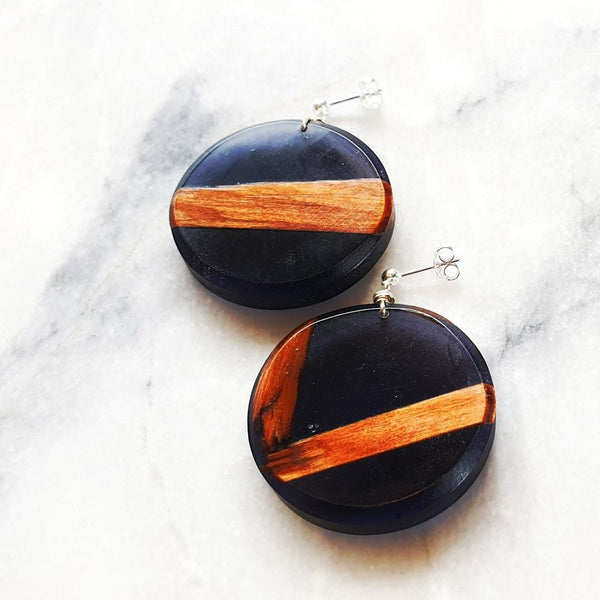 Large Circle Earrings Resin+Wood