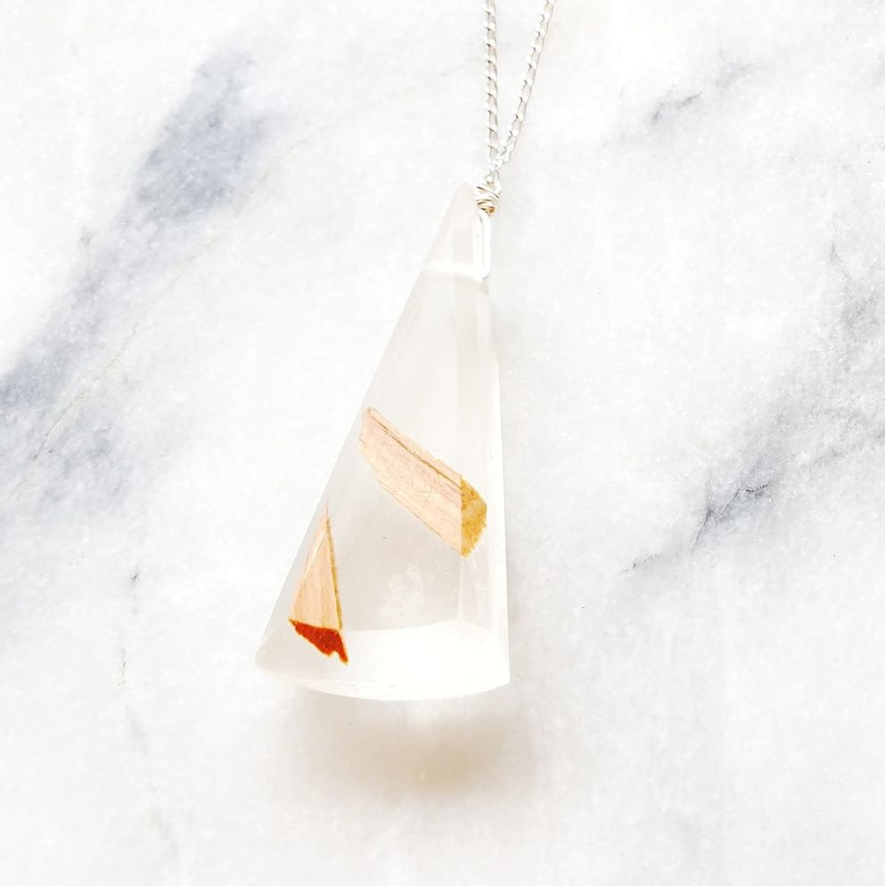 Medium Triangle Necklace Resin+Wood