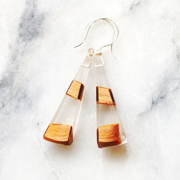 Long Triangle Earrings Resin+Wood