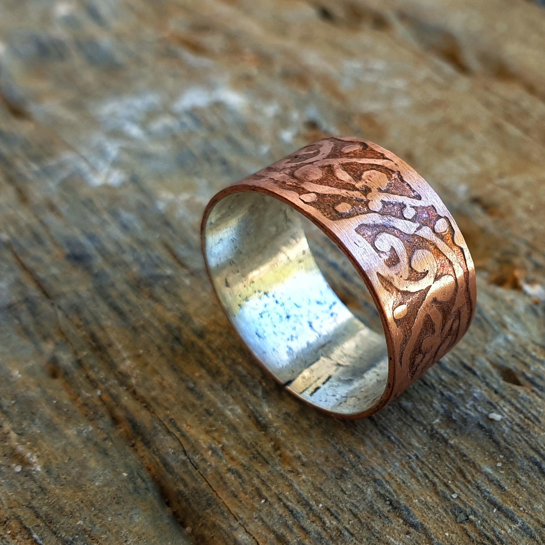 Copper Etched Unisex Ring Band