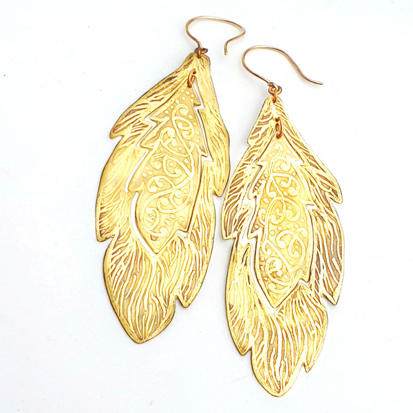 Etched Statement Feather Earrings