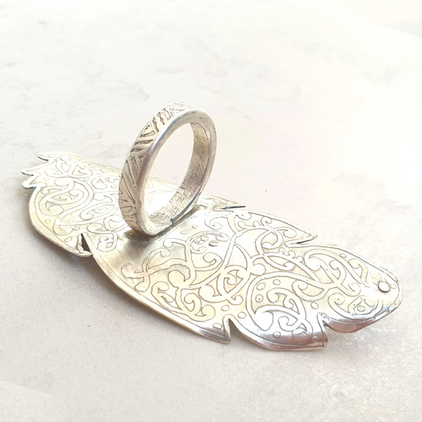 Etched Statement Feather Ring