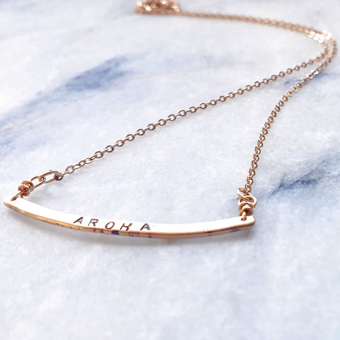 Golden Feather Bar Necklace
