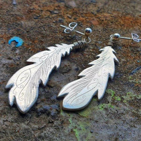Freedom Feather Earrings Silver